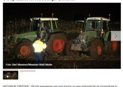 Tractor bestuurder gewond door sleepkabel